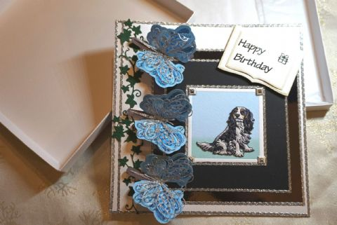 Birthday Card Embroidered Hand Crafted Boxed Keepsake Card with Tri Colour Cavalier picture